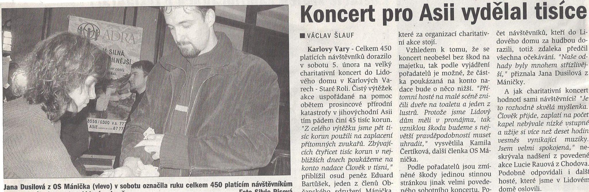 Charitativní koncert pro Asii – 5.února 2005